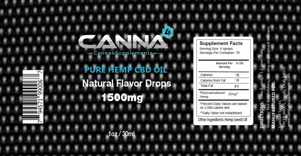 CBD Oil 1500mg Natural 1oz